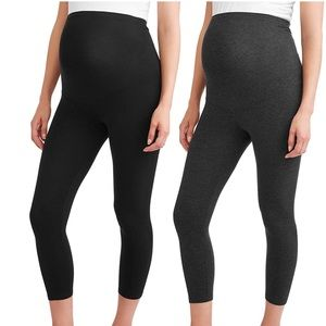 0153 Maternity Over The Belly Capri Crop Leggings